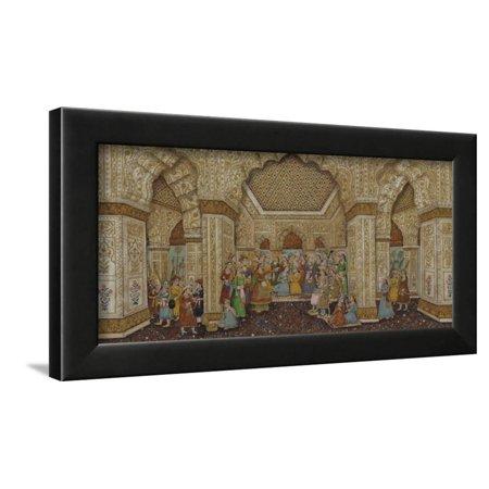 Mughal Palace Interior Depicting Shah Jahan and Mumtaz Mahal Framed Print Wall (Images Of Shah Jahan And Mumtaz Mahal)