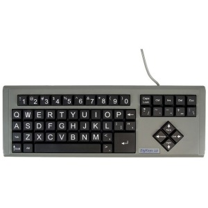 "Ablenet BigKeys LX - QWERTY Wired Keyboard White Print on 1"" Large Black Keys"