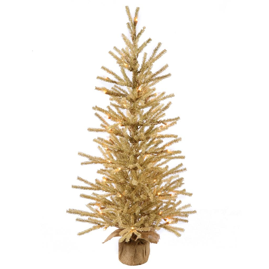 "Vickerman 36"" Champagne Artificial Christmas Tree with 50 Warm White LED Lights"
