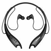 Mpow Jaws Gen-5 Bluetooth Headphones 18 Hrs Playtime, V5.0 Bluetooth Neckband Headset w/Call Vibrate & CVC 6.0 Noise Cancelling Mic, Wireless Headphones for Cell Phones/Tablets/Computers Black