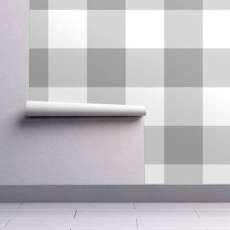 Plaid Wallpaper - Peel-and-Stick Removable Wallpaper Grey Check Checkered Plaid Check Large