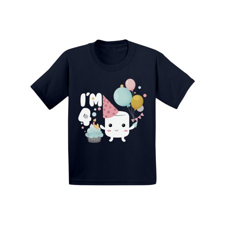 Awkward Styles Marshmallow Clothes Birthday Gift I am Four Themed Party Gifts for 4 Year Old Toddler Shirt for Kids 4th Birthday Toddler Shirt for Kids 4th B Day Party Shirt for Boys Shirts for