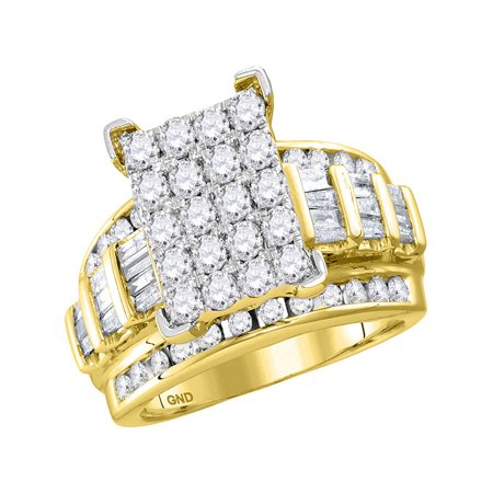 10kt Yellow Gold Womens Round Diamond Cindys Dream Cluster Bridal Wedding Engagement Ring 2.00 Cttw - image 1 of 1