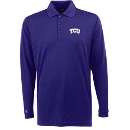 Tcu mens long sleeve polo shirt color purple for Long sleeve purple polo shirt