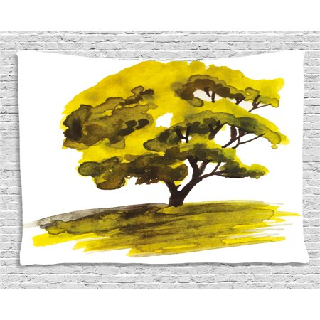 Nature Tapestry, Watercolor Hand Drawn Green Oak Tree on Sunset Sketchy Nature Artwork Image, Wall Hanging for Bedroom Living Room Dorm Decor, 60W X 40L Inches, Green and White , (Ooak Watercolor)