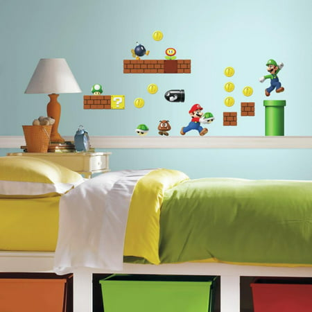 RoomMates Nintendo Super Mario Build a Scene Peel and Stick Wall Decals (super mario bros wall stickers)
