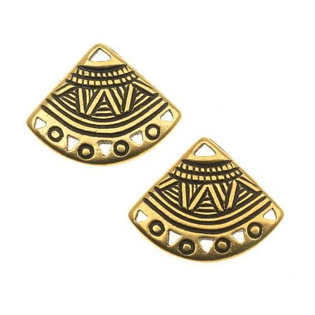 22K Gold Plated Pewter Ethnic Fan Chandelier Earrings 15mm (22k Vermeil Earrings)