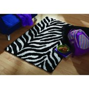 Your Zone Zebra Black And White Shag Rug