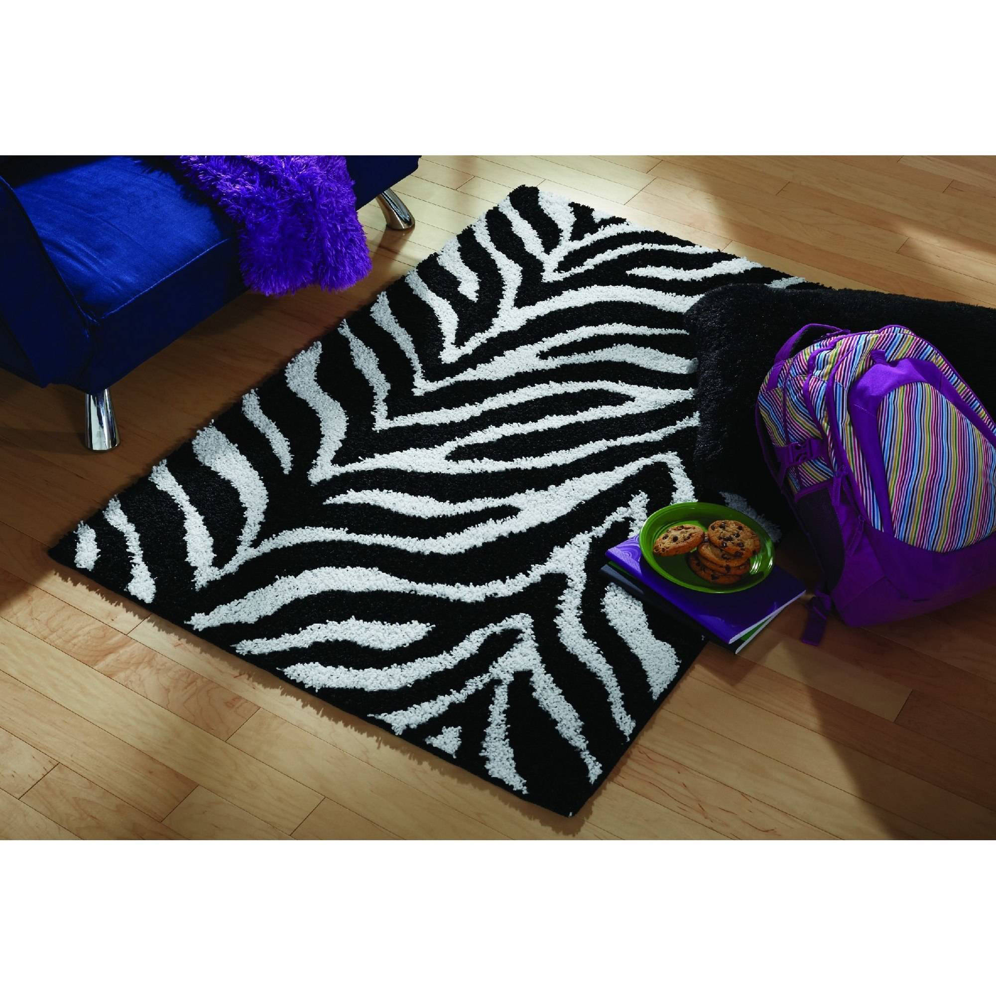 Your Zone Zebra Shag Olefin Rug, Black and White