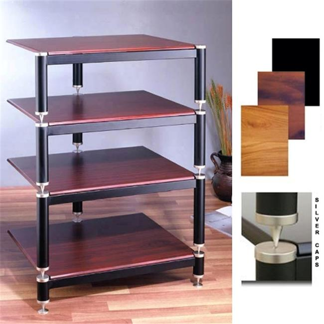 VTI Manufacturing BL304SO 3 Silver Capspike Black Poles 4 Oak Shelves AV Stand