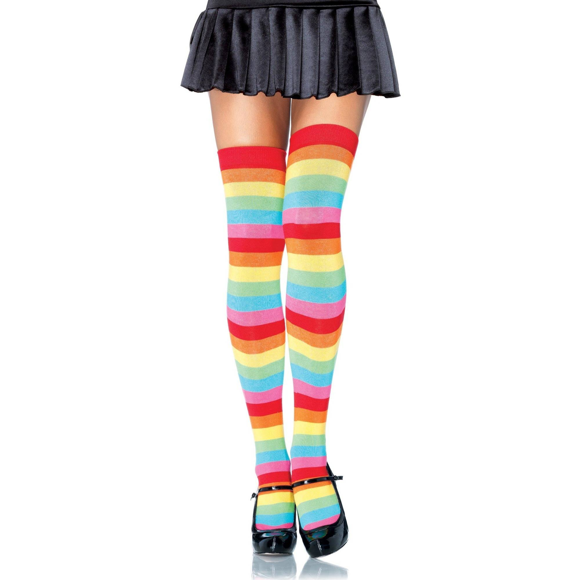 Neon Rainbow Thigh Highs Halloween Costume Accessory