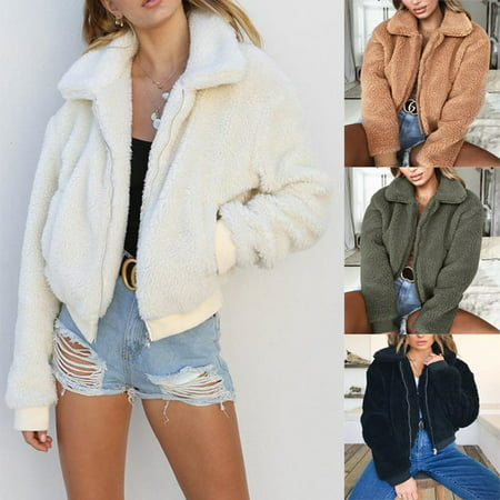 Crystal Faux Fur Jacket (US Women's Lady Teddy Bear Faux Fur Coats Jacket Borg Outwear Oversized Clothes )
