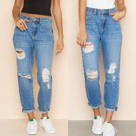 Tailored Fashion Womens High Waist Hole Pocket Button Zipper Denim Slim Fit Jeans