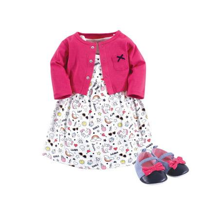 Little Treasure Baby Girl Dress, Cardigan & Shoe Set