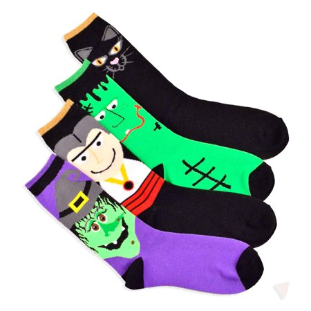 TeeHee Halloween Socks - Monster and Cat Faces 4-pair Pack Women's Crew Socks - Simple Halloween Cat Faces