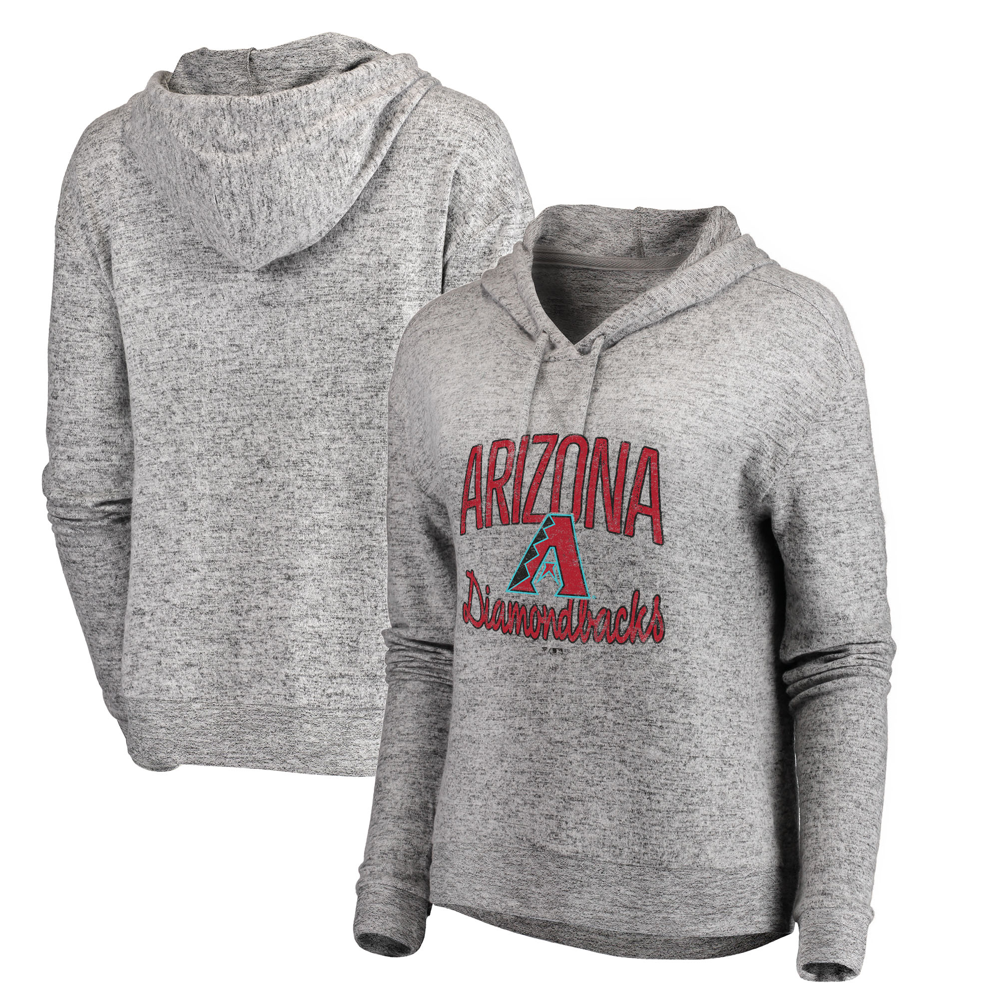 Arizona Diamondbacks Let Loose by RNL Women's Cozy Collection Steadfast Pullover Hoodie - Heathered Gray
