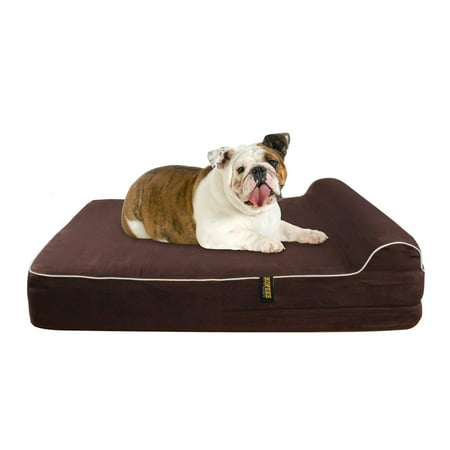 Dog Bed With Pillow Orthopedic Memory Foam Waterproof Large - Brown