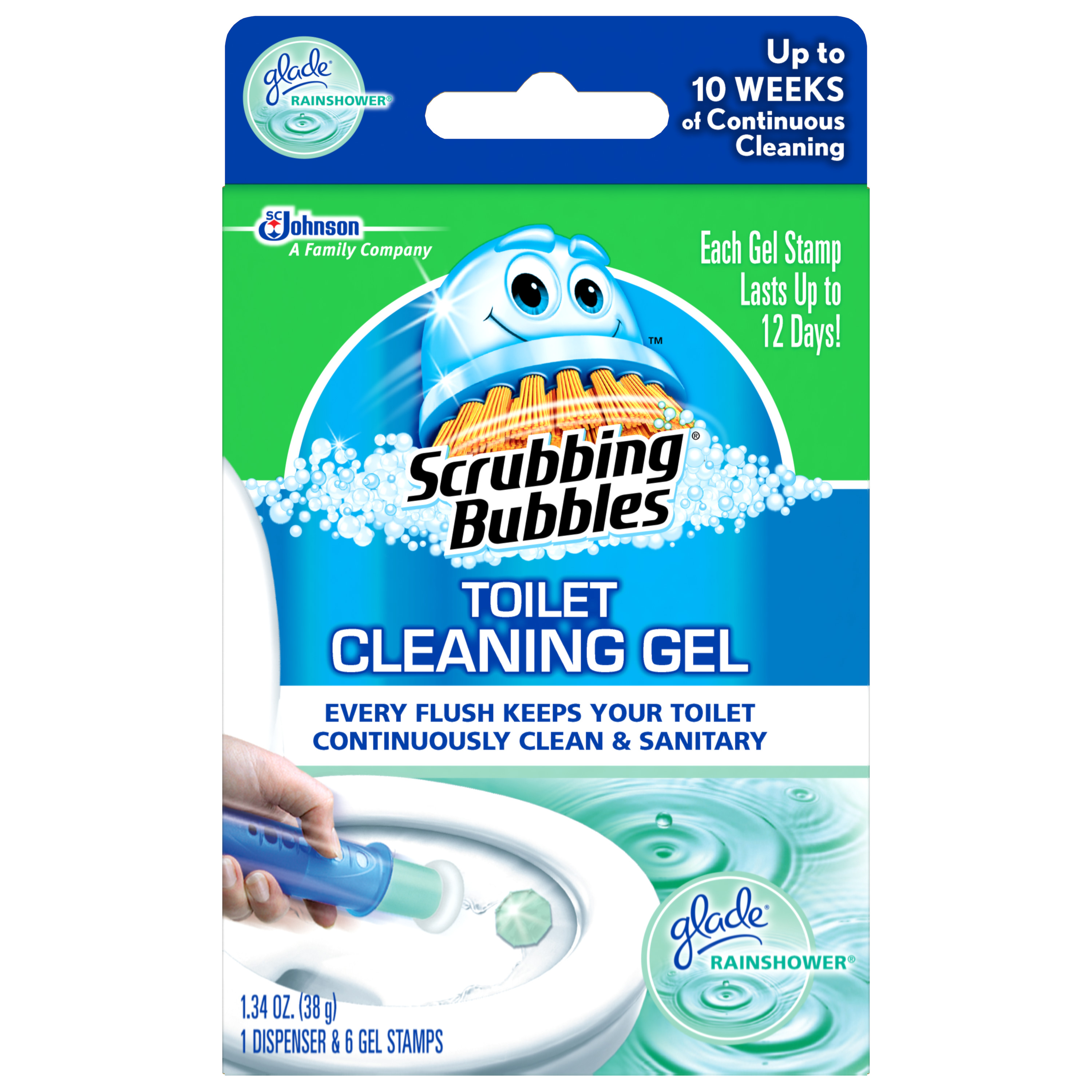 Scrubbing Bubbles Toilet Cleaning Gel Glade Rainshower 1.34 Ounces