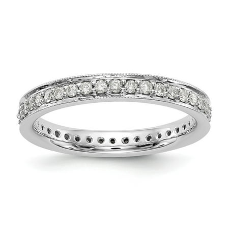 14K White Gold Ring Band Eternity Diamond Round Polished 1 2 CT Vintage , Size 5