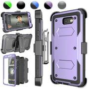 Galaxy J7 Perx Case,Galaxy J7 Sky Pro Case,J7 V/J7V/Halo/J7 Prime Holster Clip, Njjex [Lavender] [Built-in Screen] with Kickstand + Holster Belt Clip Carrying Armor Case Cover For Samsung J7 2017
