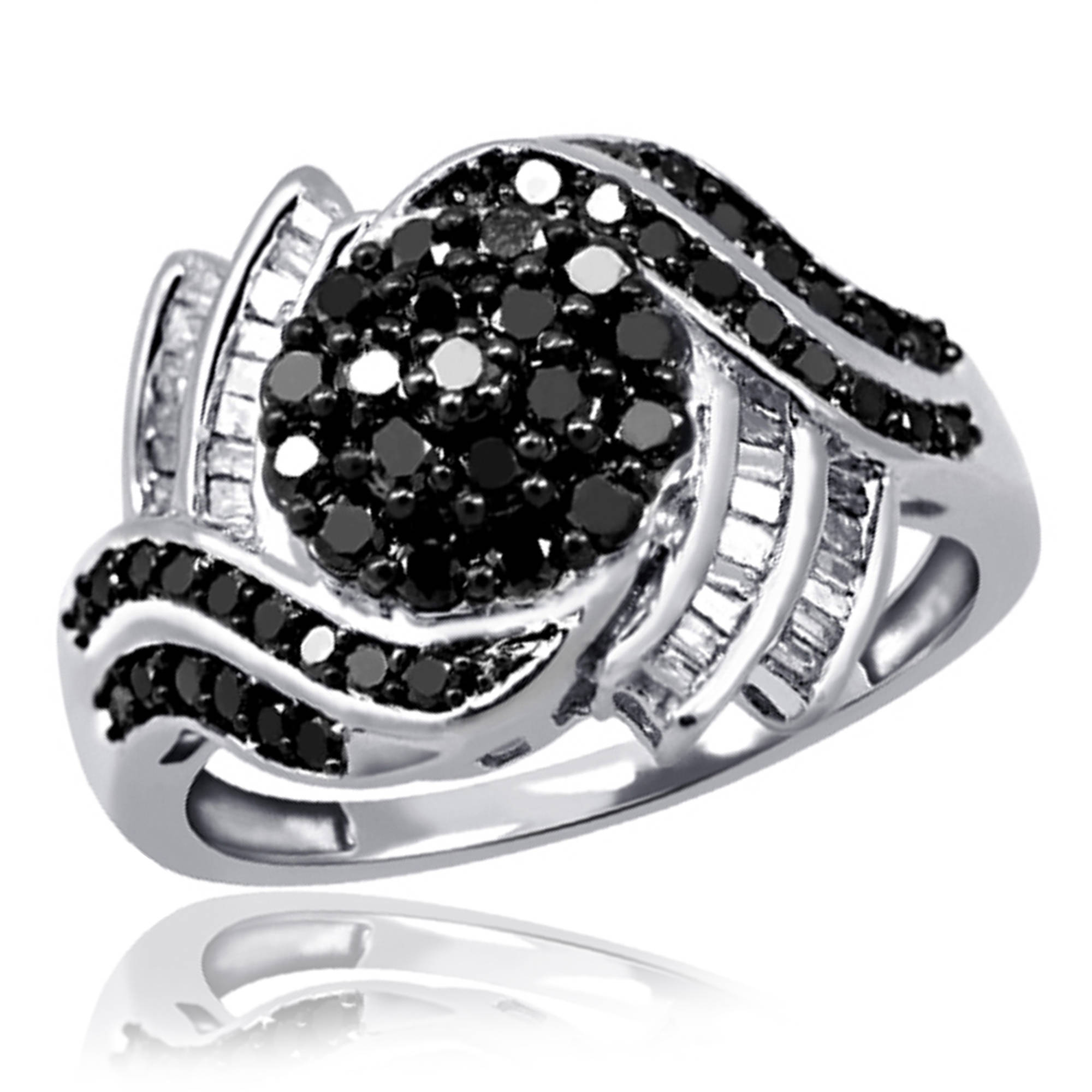 JewelersClub 1.00 CTW Round & Baguette cut Black & White Diamond Cluster Bypass Sterling Silver Ring