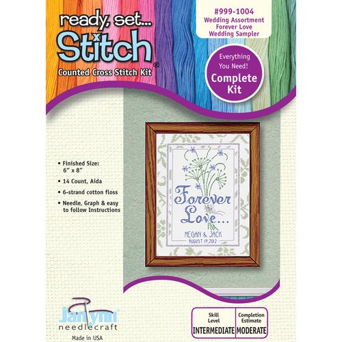 """Janlynn Ready, Set...Stitch """"Forever Love"""" Counted Cross Stitch Kit"""