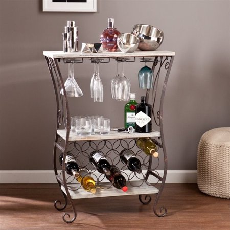 Southern Enterprises Arcino Wine Storage Table in Gray and Rust - image 6 de 6