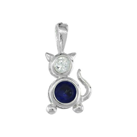 Rembrandt Cat Charm - Sterling Silver Birthstone Cat Brat Charm September Blue Sapphire Color Cubic Zirconia