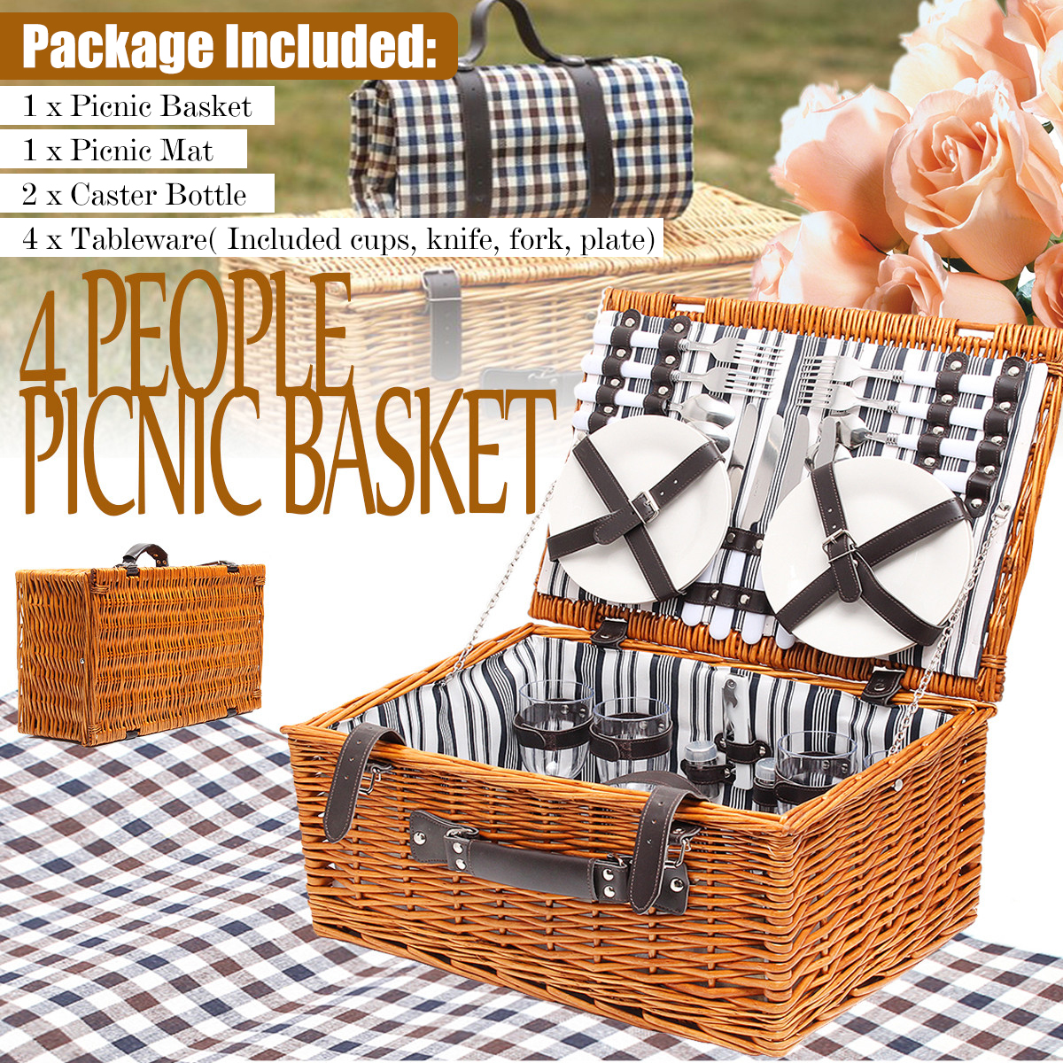 NEW 4 Person Picnic Basket Baskets Set Insulated Mat Blanket Park Strong Wicker Hiking Outdoor