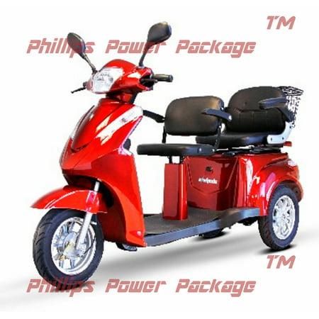 E-Wheels - EW-66 - 2-Passenger Heavy Duty Scooter - 3-Wheel - Red