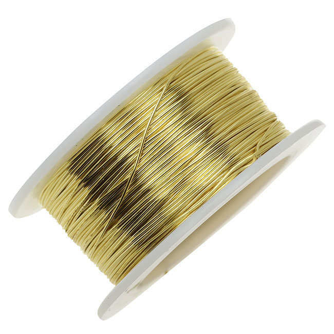 Artistic Wire, Brass Craft Wire 28 Gauge Thick, 15 Yard Spool, Bare Yellow Brass