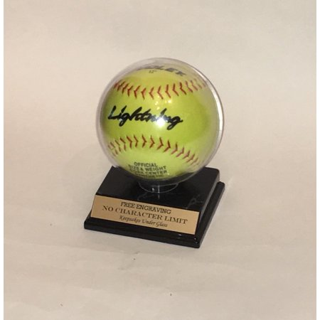 """Softball Personalized Round Acrylic Display Case with Custom Stand for an 11"""" inch Ball"""