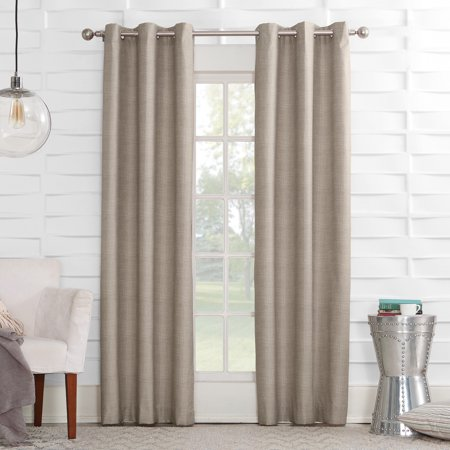 - Sun Zero Caleb Linen Texture Thermal Insulated Energy Efficient Grommet Curtain Panel