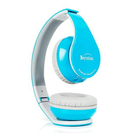 Beyution Wireless Bluetooth Headphones Over-ear HiFi Stereo Headset Built in Mic-phone Sport Over Head earphones for Android Samsung iPhone Smartphones-Sky