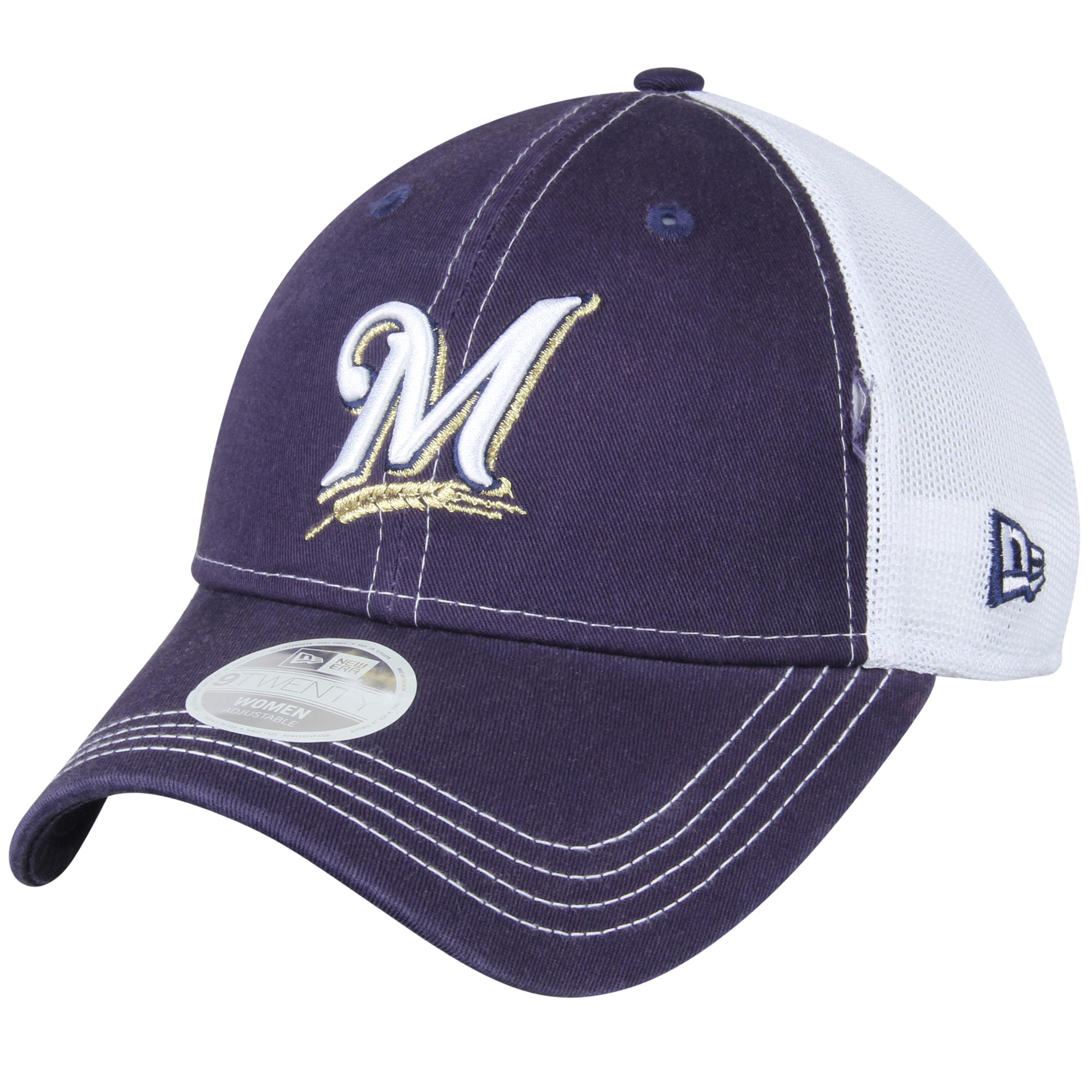 5574849a46f5c ... discount code for milwaukee brewers new era womens spirited 9twenty  adjustable hat navy osfa d6e32 3f742