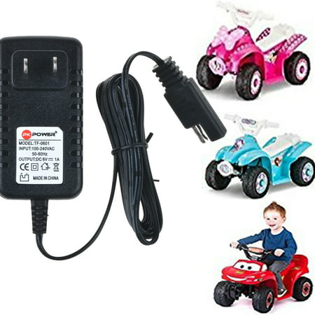 PKPOWER 6.6ft Cable B Charger 6V 1A Adapter for DISNEY QUAD ATV 6V batt RIDE ON Walmart Target Toy R Power Supply Cord