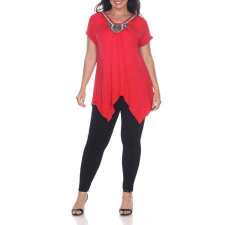 Women's Plus Size Embellished Short Sleeve Tunic Top