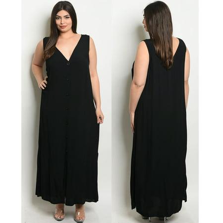 JED FASHION Women\'s Plus Size Black V-Neck Button-Up Maxi Dress