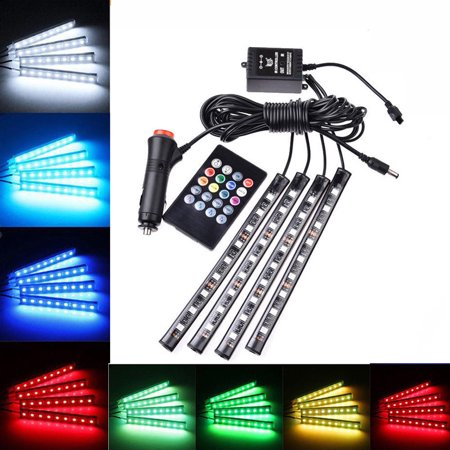 Car LED Strip Light, Viugreum 4pcs 48 LED Multicolor Music Car Interior Lights Under Dash Lighting Waterproof Kit with Sound Active Function and Wireless Remote Control, Car Charger Included