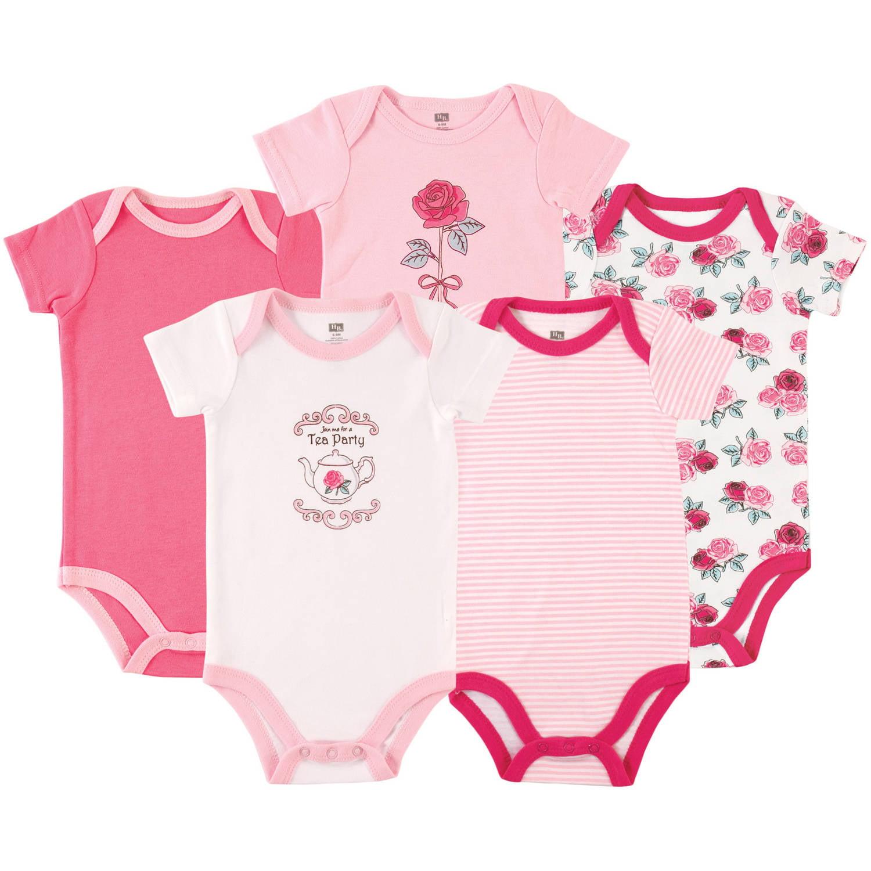 Hudson Baby Newborn Baby Girls Bodysuit 5-Pack - Tea