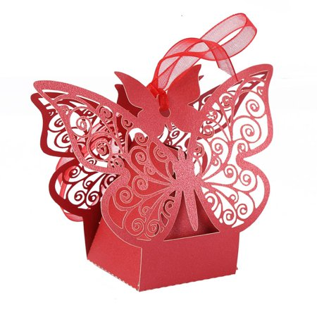 10pcs Hollow Butterfly Ribbon Chocolate Candy Boxes Wedding Party Favor Bag