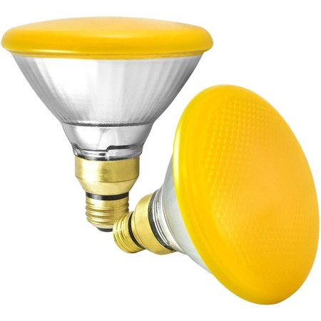 Par38 Bullet Flood - GE 85 Watt Halogen PAR38 Outdoor Flood Light Bulbs, Yellow Light Bulb, Glass, 120V, Wet Rated, E26 Medium Base, Bug Light Bulbs (2 Pack)