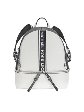 65c1c333549ce5 Product Image Michael Kors Rhea Medium Pebbled Leather Backpack - Optic  White / Black