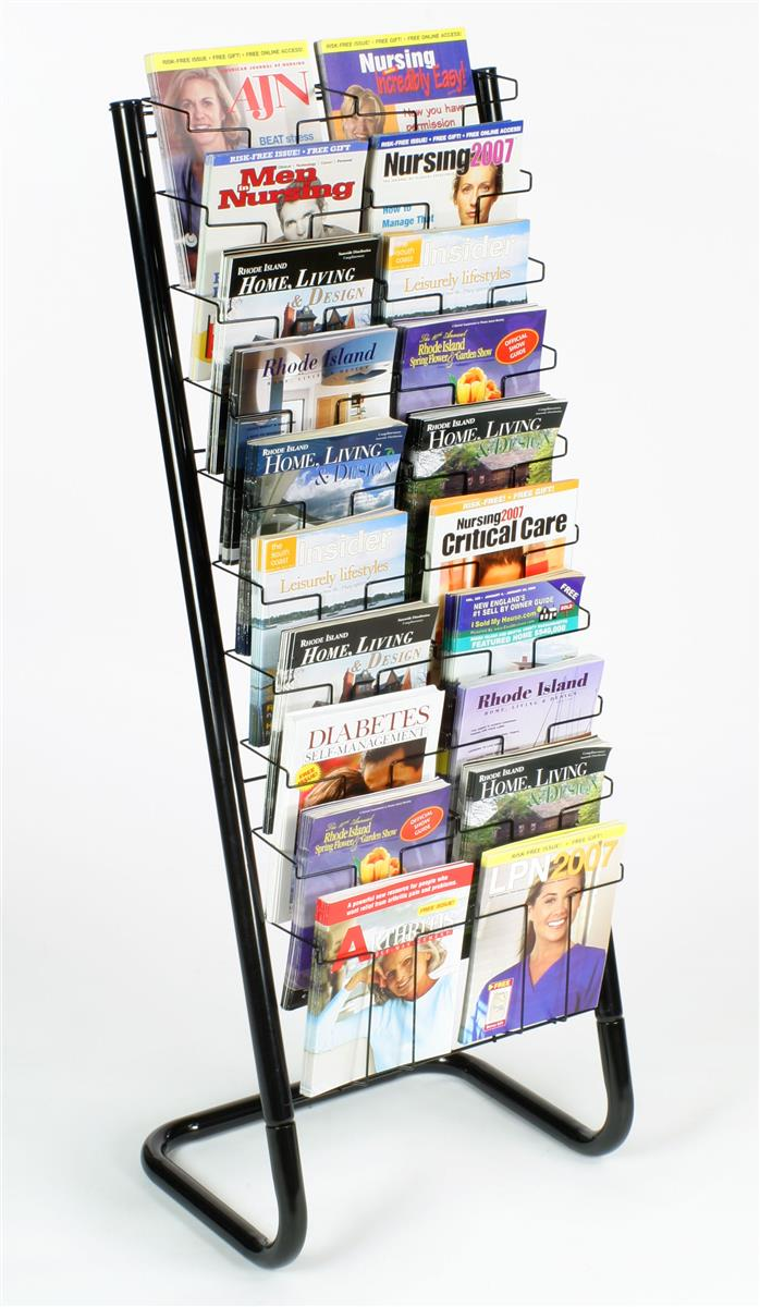 "57"" Floor-Standing Wire Magazine Rack, 20 Pockets, Tiered Design Black (WFM1020A) by Displays2go"