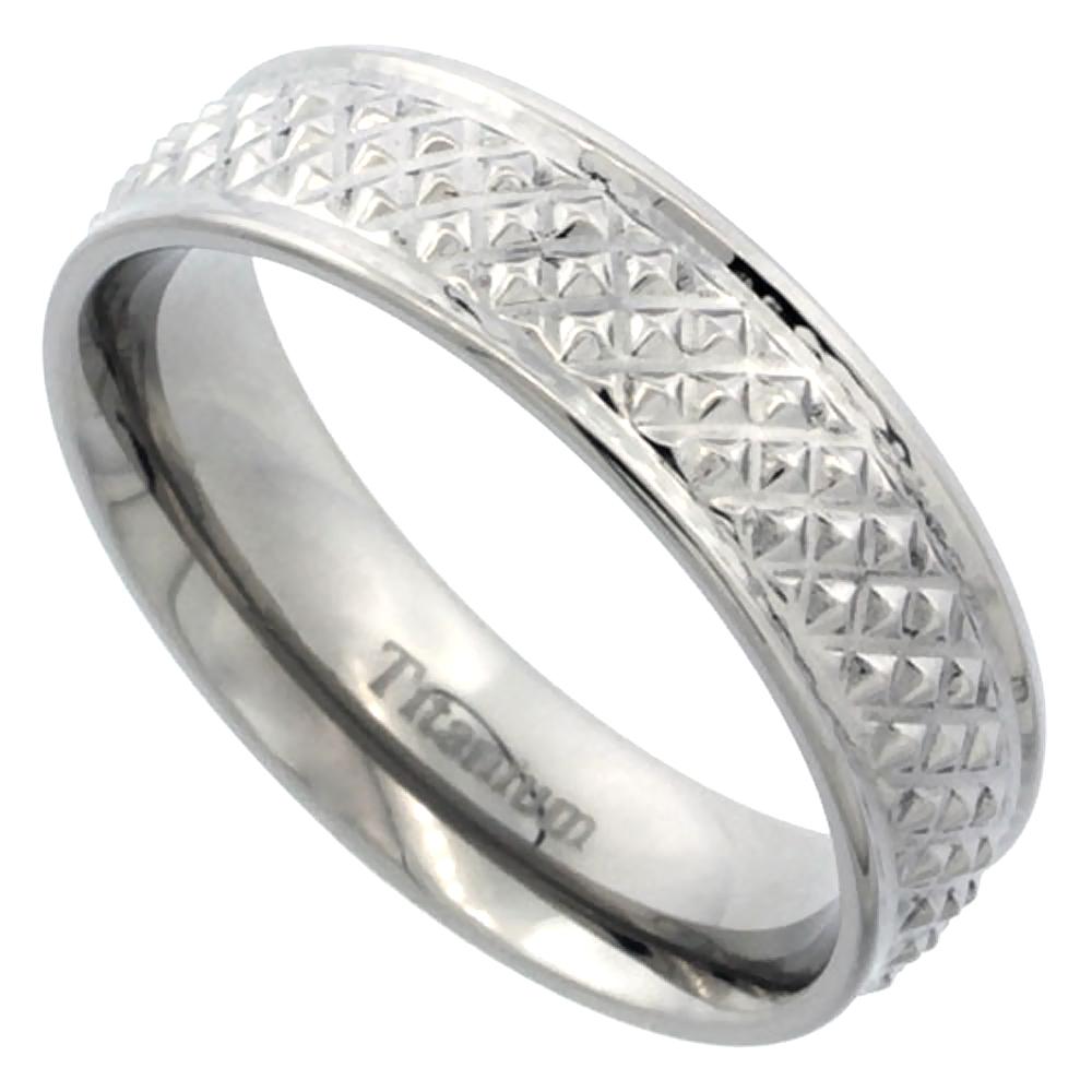 Titanium 6mm Wedding Band Ring Pyramid Pattern High Polish Finish Flat Comfort Fit, sizes 7 - 14