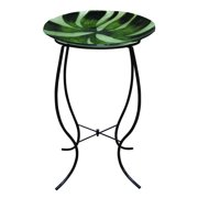 Alpine Green Abstract Glass Bird Bath with Stand, 821559421791