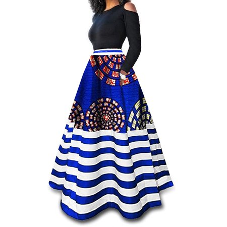 Women Sexy Striped Print Slim A-Line Skirts