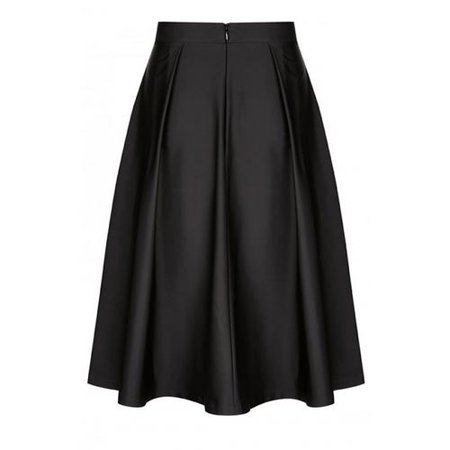 Women Plus Size Satin Pleated Mid Waist Flare Skirts, Black