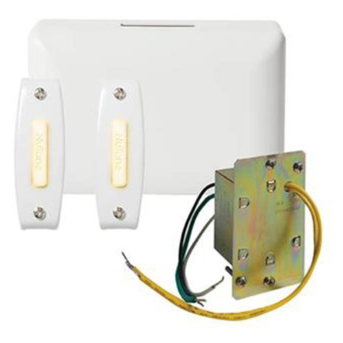 Broan BK142LWH NuTone Chime Kit (2 Lighted Push-Buttons, 1 J-Box Transformer)