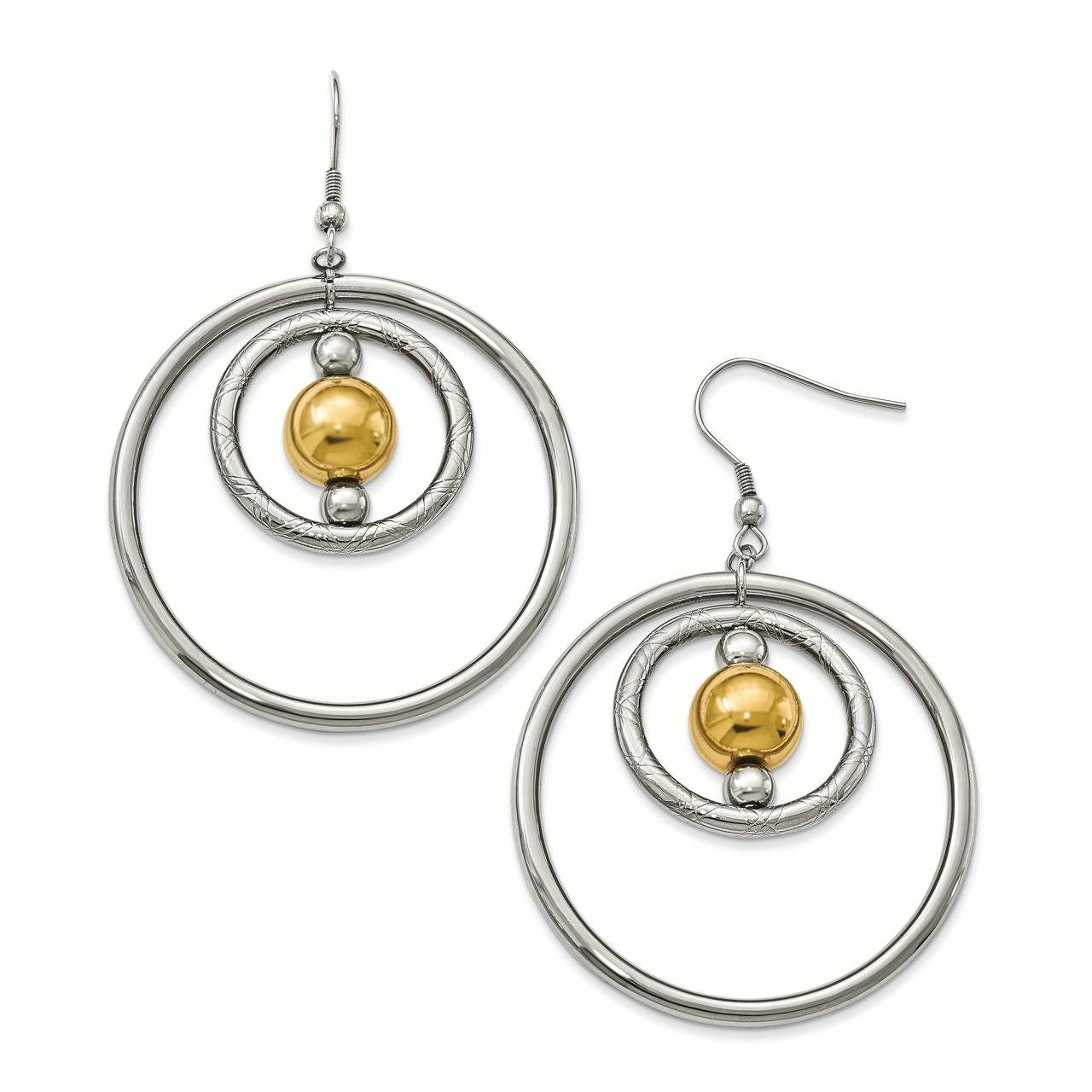 Primal Steel Stainless Steel Polished Yellow IP-plated Shepherd Hook Earrings